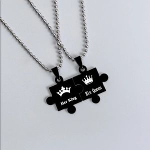 👑 King And Queen Puzzle Piece Couples Necklace🧩